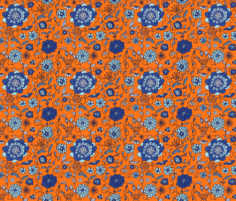 Crown Flowers Orange fabric by evelynrosedesigns on Spoonflower - custom fabric