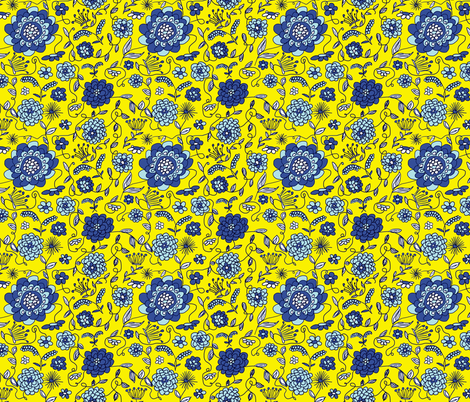 Crown_FLowers_Yellow fabric by evelynrosedesigns on Spoonflower - custom fabric
