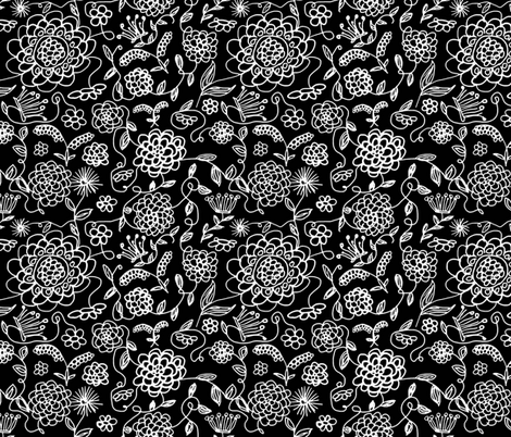 Crown_FLowers_Blank_and_white fabric by evelynrosedesigns on Spoonflower - custom fabric