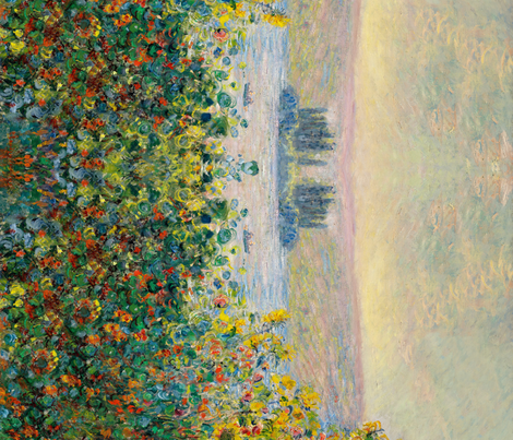 Monet: Flower Beds at Vetheuil seamless repeat