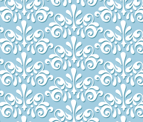 Tromp L'Oeuil Damask - Wedgwood Blue fabric by pixeldust on Spoonflower - custom fabric