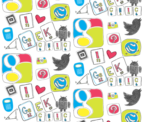 Doodling in Geek fabric by artsycanvasgirl on Spoonflower - custom fabric