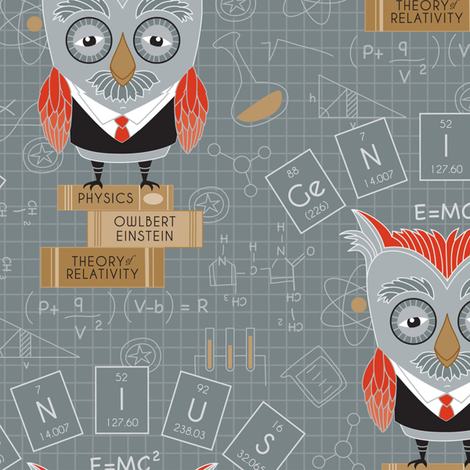 Owlbert_Einstein_Swatch fabric by suzanne_dye on Spoonflower - custom fabric