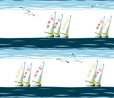 Julie's Sailing Race fabric by juliesfabrics on Spoonflower - custom fabric