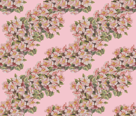 Garlands of Apple Blossoms Drifting Left fabric by anniedeb on Spoonflower - custom fabric