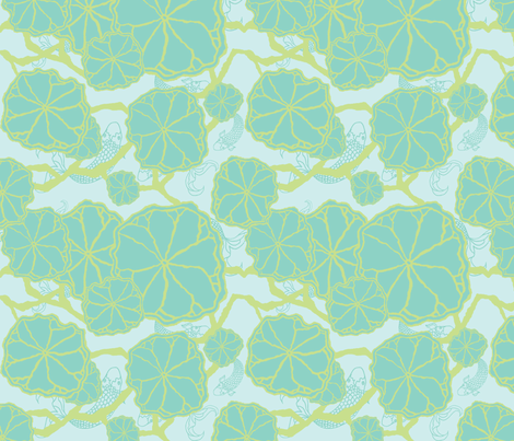 Japanese Garden Pond fabric by ricerafferty on Spoonflower - custom fabric