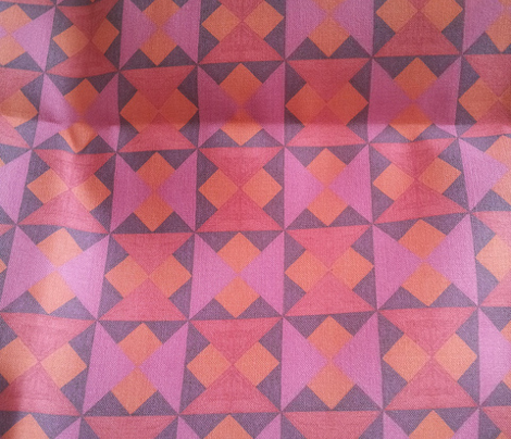 Tiny Pink Orange and Red Quilt Squares
