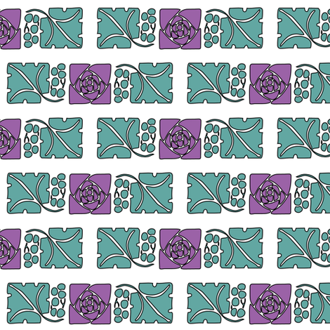 Type-ornaments-1 leaf mckintosh-rose-290violet  180minagreen fabric by mina on Spoonflower - custom fabric