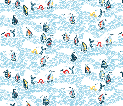Ahoy, Mermaids! fabric by ifneedb on Spoonflower - custom fabric