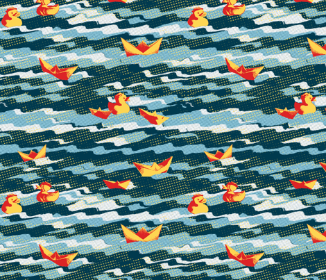 Rubber Duckies and Paper Boats fabric by bloomingwyldeiris on Spoonflower - custom fabric