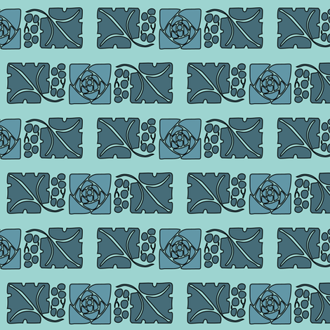 Type-ornaments-1 leaf mckintosh-rose-195-blue background175minagreen fabric by mina on Spoonflower - custom fabric