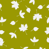 Green with white autumn leaves.