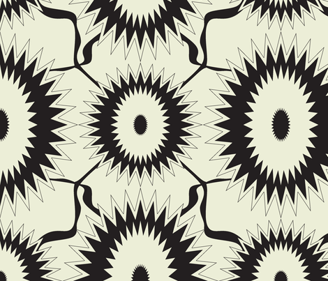 Black sunflower fabric by sewbiznes on Spoonflower - custom fabric
