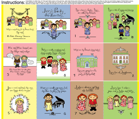 Lizzy's Family Pride and Prejudice Cloth Quiet book fabric by littleliteraryclassics on Spoonflower - custom fabric