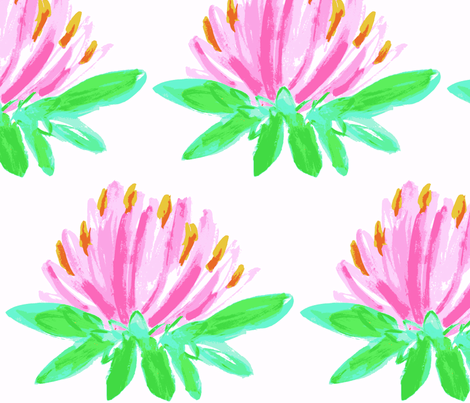 Pink Blooming Lilly  fabric by sarah&caroline on Spoonflower - custom fabric