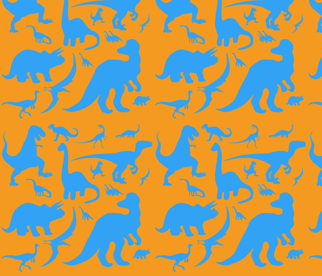 Blue Dinosaurs fabric by popstationery&gifts on Spoonflower - custom fabric