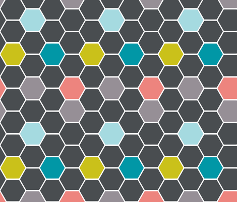 hexies grey fabric by katarina on Spoonflower - custom fabric