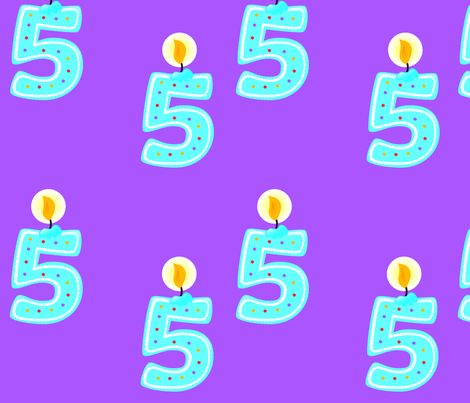 5th Birthday Candle fabric by popstationery&gifts on Spoonflower - custom fabric
