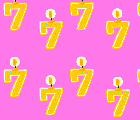 7th Birthday Candle fabric by popstationery&gifts on Spoonflower - custom fabric
