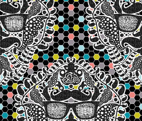 damask geek black fabric by katarina on Spoonflower - custom fabric