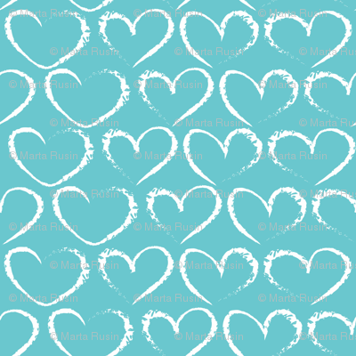 chalk hearts on blue