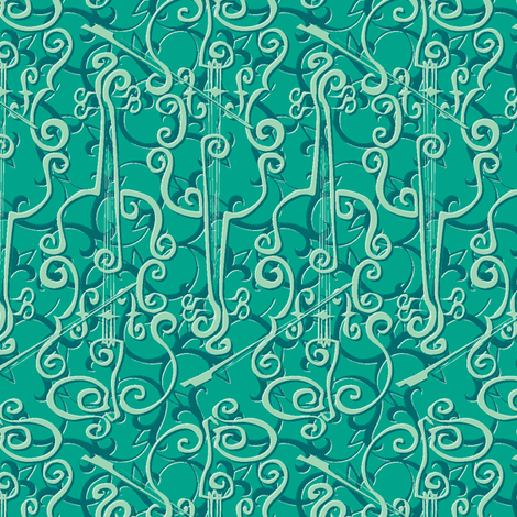 VIOLIN adante flourish frog fabric by glimmericks on Spoonflower - custom fabric