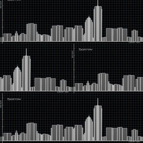 Graph of Boston Skyline - Geek Chic in black