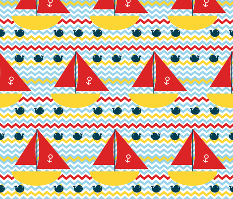 King Whale Yacht Club fabric by saraelizabeth on Spoonflower - custom fabric