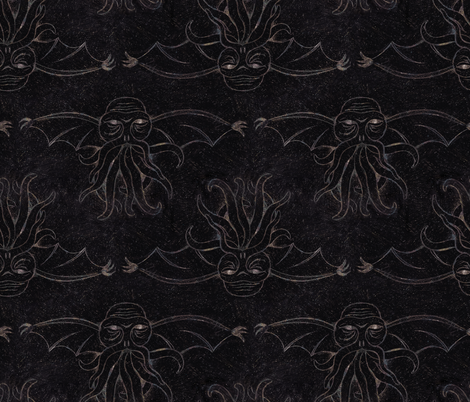 Scratch Art Cthulhu fabric by halfaringcircus on Spoonflower - custom fabric
