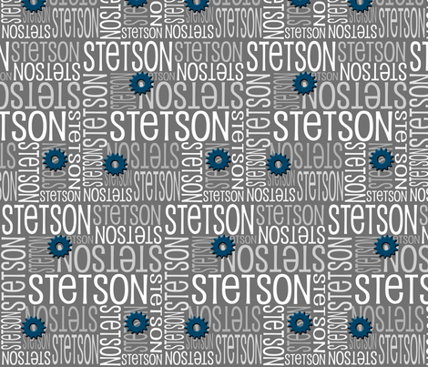Personalised Name Fabric - Grey Sprockets fabric by shelleymade on Spoonflower - custom fabric