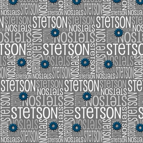 Personalised Name Fabric - Grey Sprockets