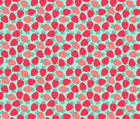 Strawberries fabric by kristinnohe on Spoonflower - custom fabric
