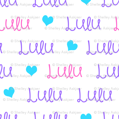 Personalised Name Design - Horizontal Pink Purple Aqua Hearts