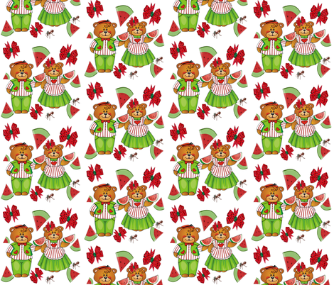 WATERMELON BEARS fabric by bluevelvet on Spoonflower - custom fabric