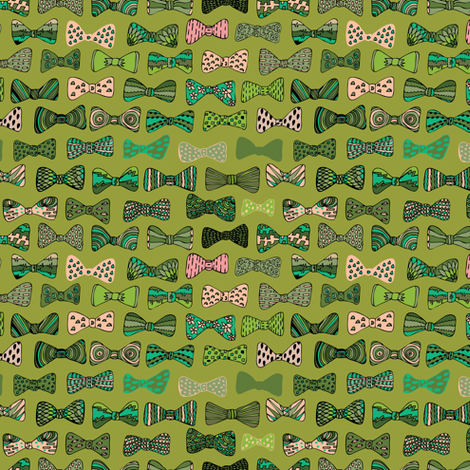 Bow ties in green fabric by akwaflorell on Spoonflower - custom fabric