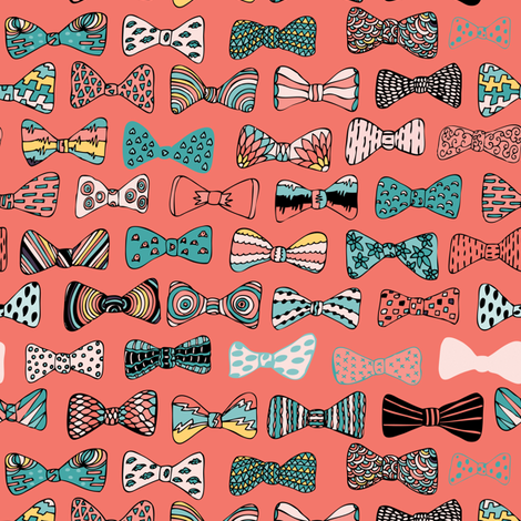 Bow tie geek in pink fabric by akwaflorell on Spoonflower - custom fabric