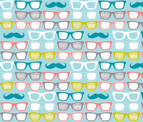 colorful glasses on sky blue fabric by katarina on Spoonflower - custom fabric