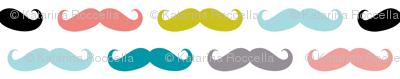 crazy moustaches on white