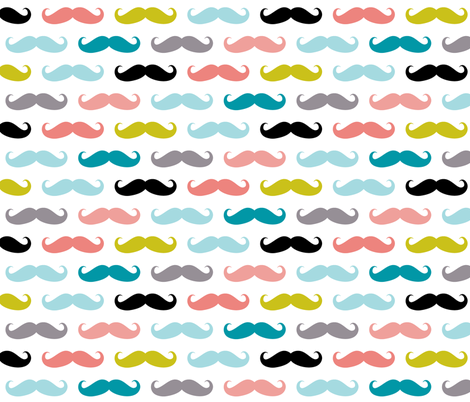 crazy moustaches on white fabric by katarina on Spoonflower - custom fabric