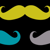 colorful moustaches on black