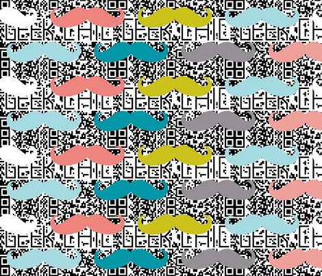 colorful mustaches on d2 bar codes fabric by katarina on Spoonflower - custom fabric