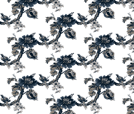 Botanical  Tree / indigo-white fabric by paragonstudios on Spoonflower - custom fabric