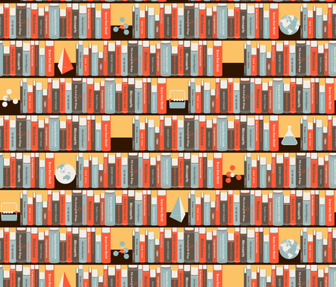 Geeky Bookshelf fabric by zesti on Spoonflower - custom fabric