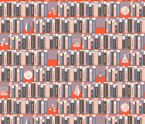 Geeky Bookshelf Pink fabric by zesti on Spoonflower - custom fabric