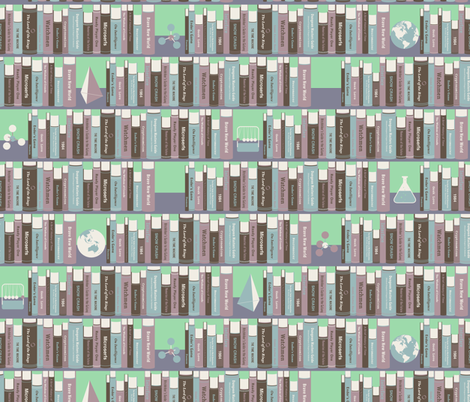 Geeky Bookshelf Mint fabric by zesti on Spoonflower - custom fabric