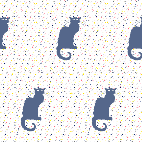 Le Chat Noir in Slate Blue Cat on Dotted White fabric by bohobear on Spoonflower - custom fabric
