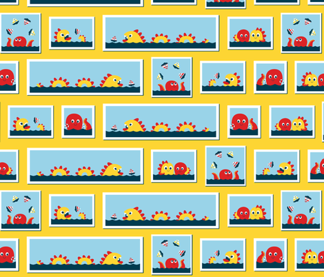 Sea monsters love sailboats fabric by petitspixels on Spoonflower - custom fabric