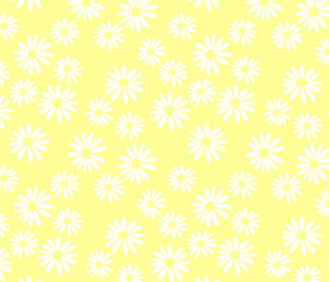 White Daisies on Yellow fabric by de-ann_black on Spoonflower - custom fabric