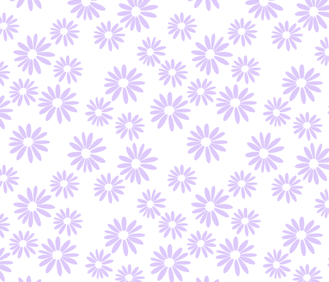 Lilac Daisies on White fabric by de-ann_black on Spoonflower - custom fabric
