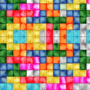 Tetris tiles mosaic border print